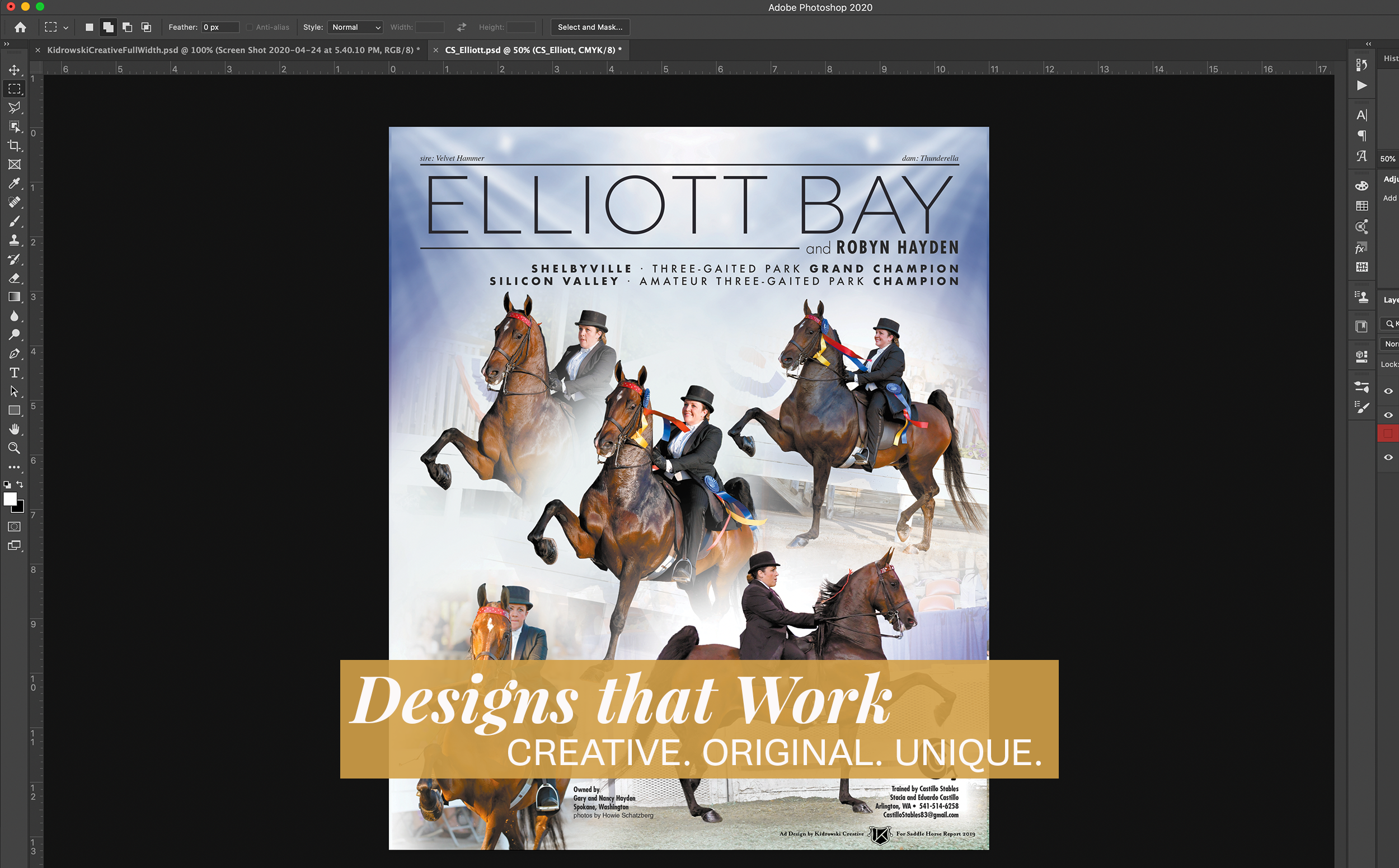 """Equestrian ad design layout with the words """"Designs that Work"""" overlaid on top."""