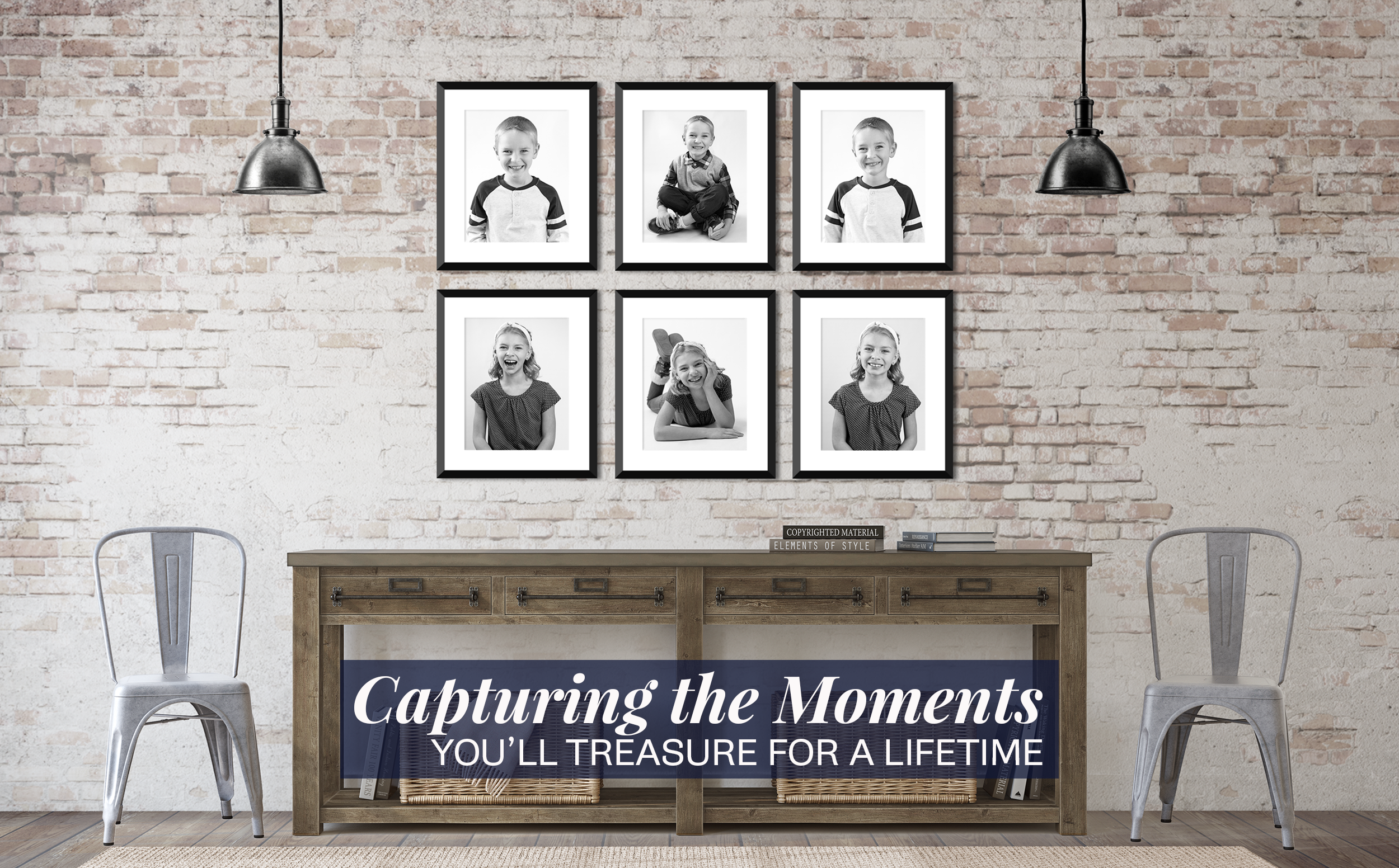 A brick entryway with a wooden table flanked by two metal chairs gallery wall of black and white images of young kids making fun faces.